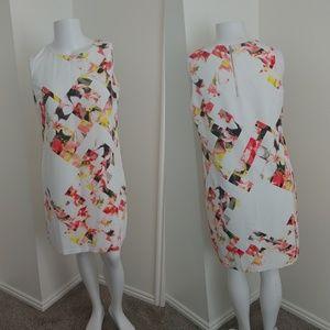 Vince Camuto White Dress W/Hawaiian Flower detail